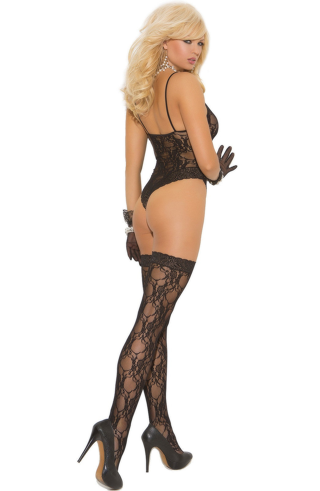 EM-1541 Lace teddy + stockings - Sexylingerieland