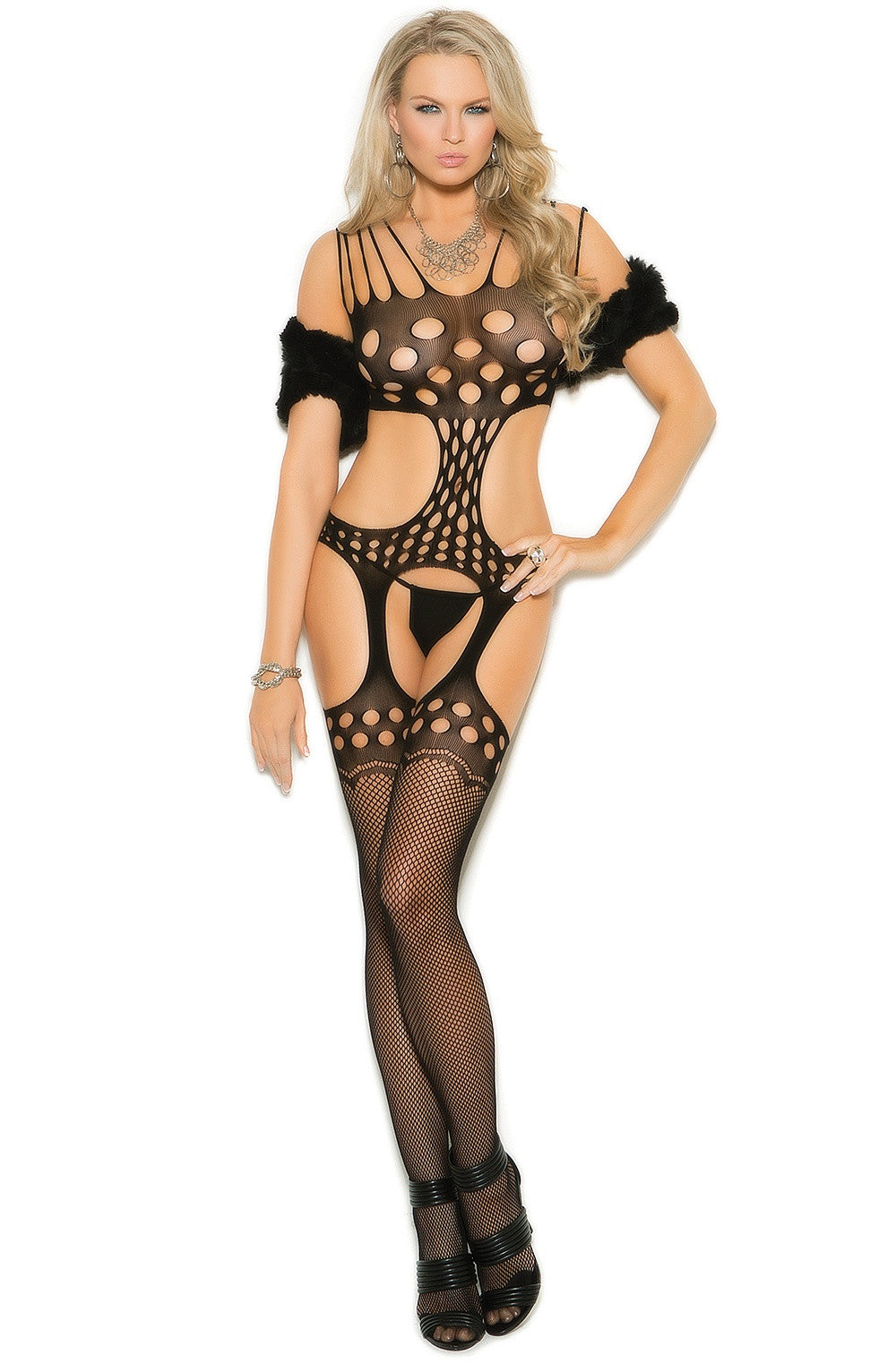 EM-1180 Crochet suspender bodystocking
