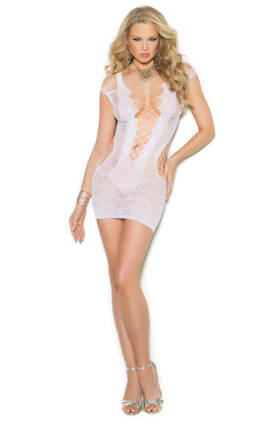 EM-1364 White crochet mini dress - Sexylingerieland