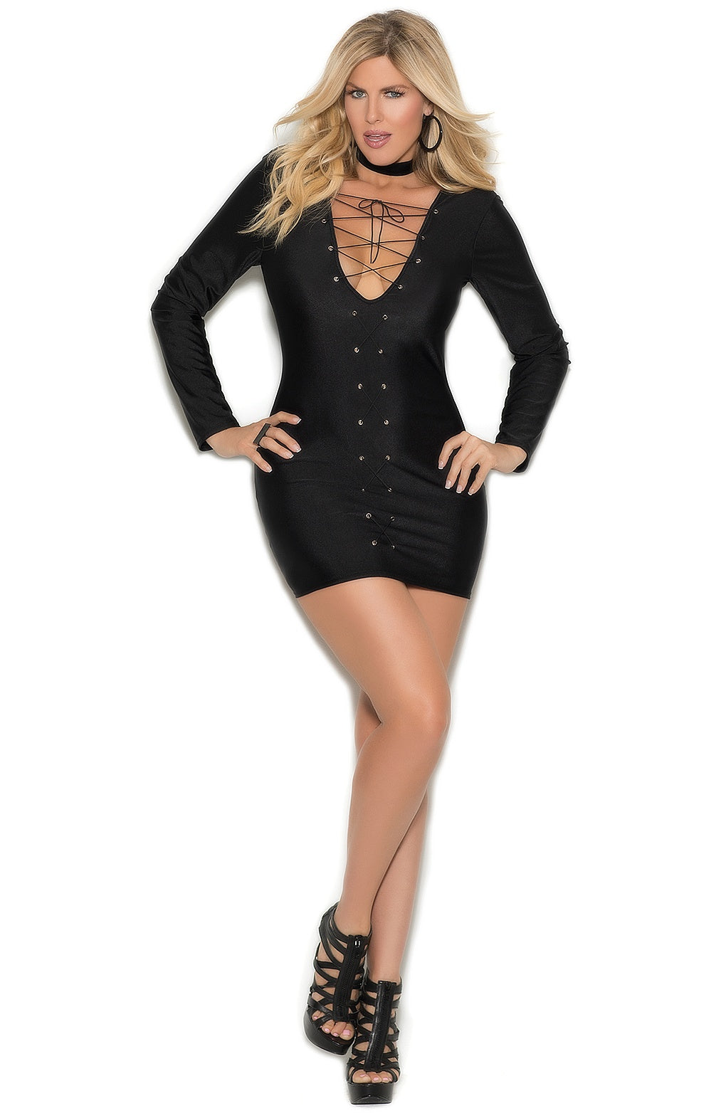 EM-8357 Black long sleeve dress