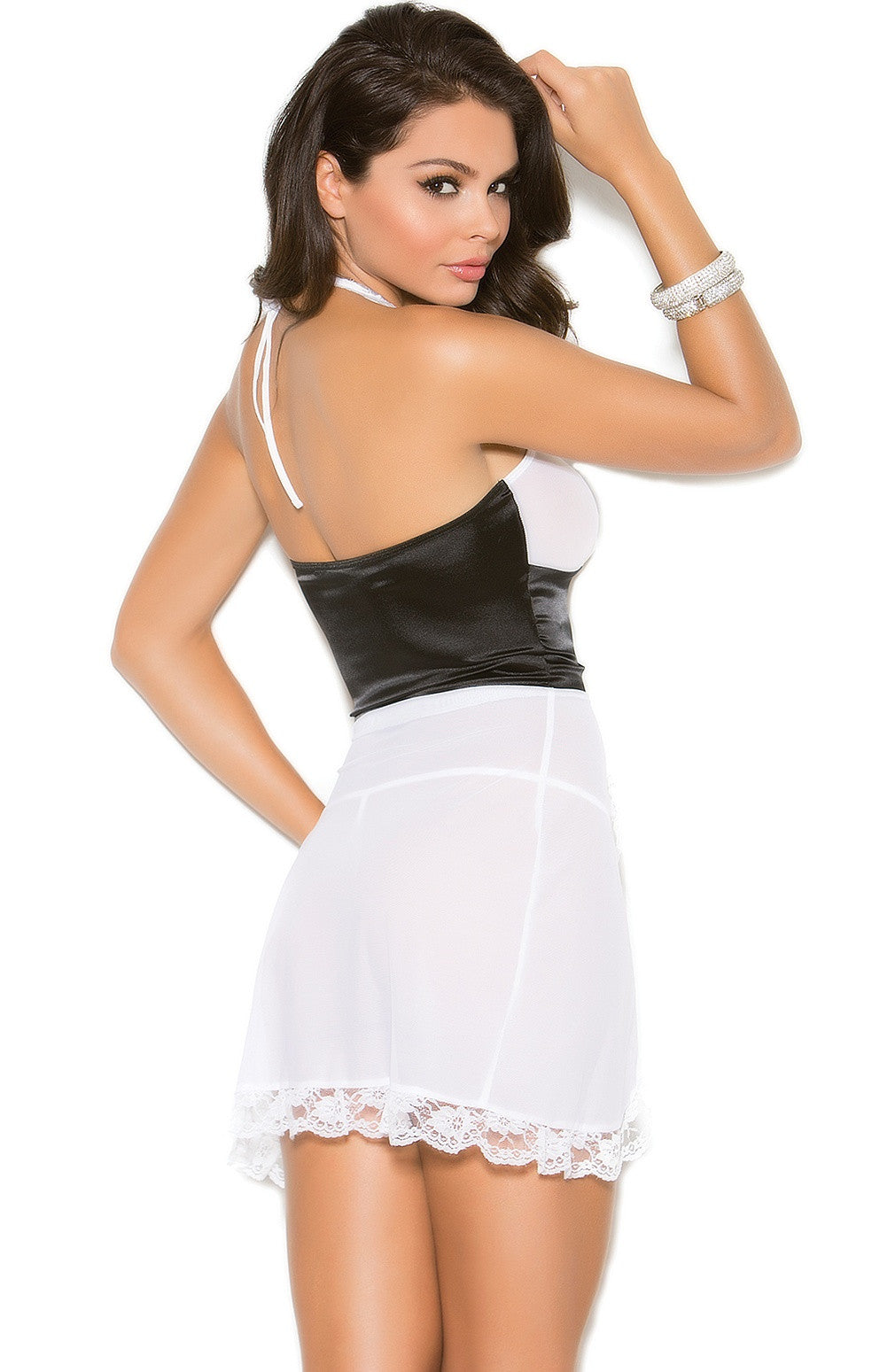 EM-4255 Black and White Babydoll - Sexylingerieland