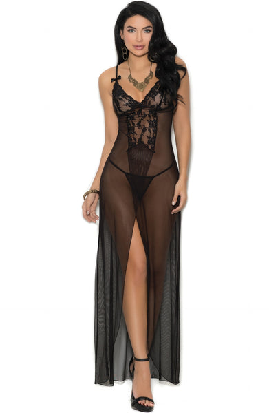 Luxury black night gown - Sexylingerieland