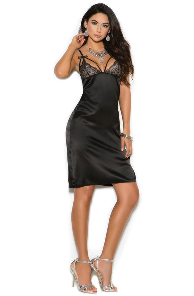 EM-1975 Black luxury night gown - Sexylingerieland