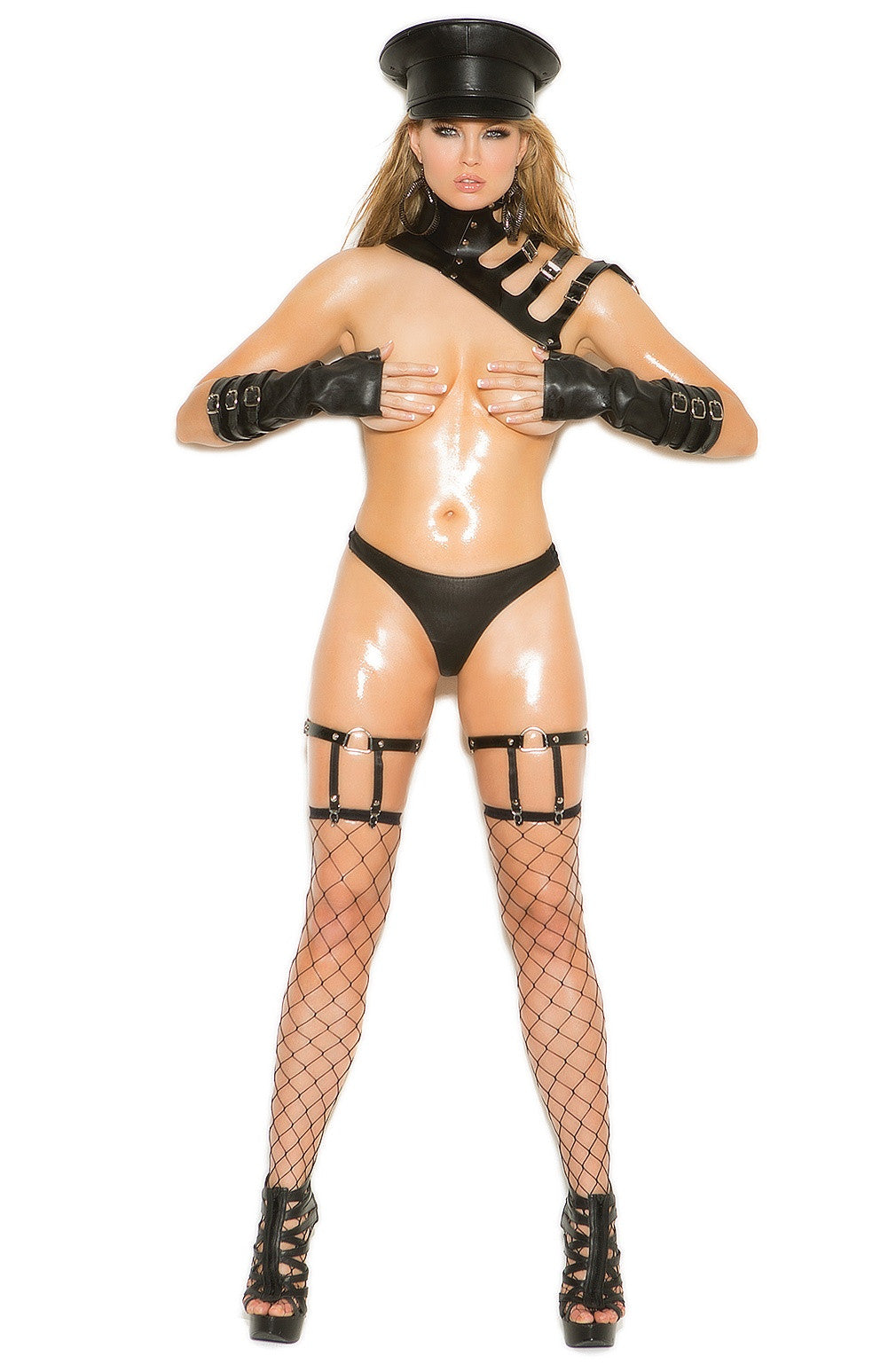 L9762 Black leather garter - Sexylingerieland