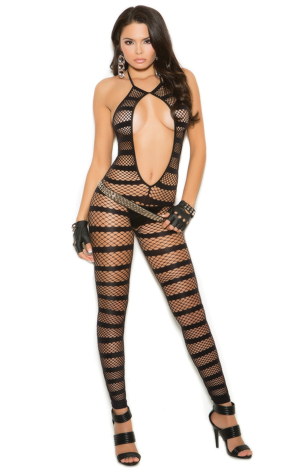 EM-1632 Luxury black bodystocking