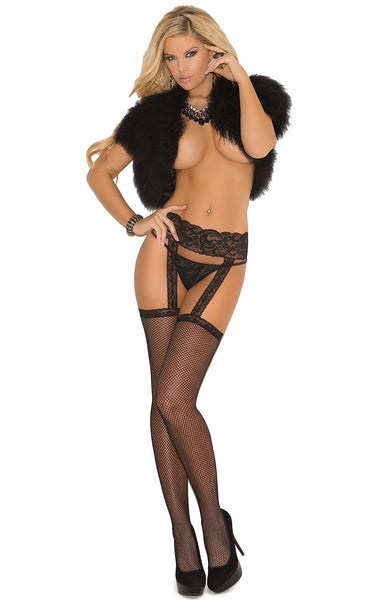 EM-1713 Hot black garter stockings - Sexylingerieland