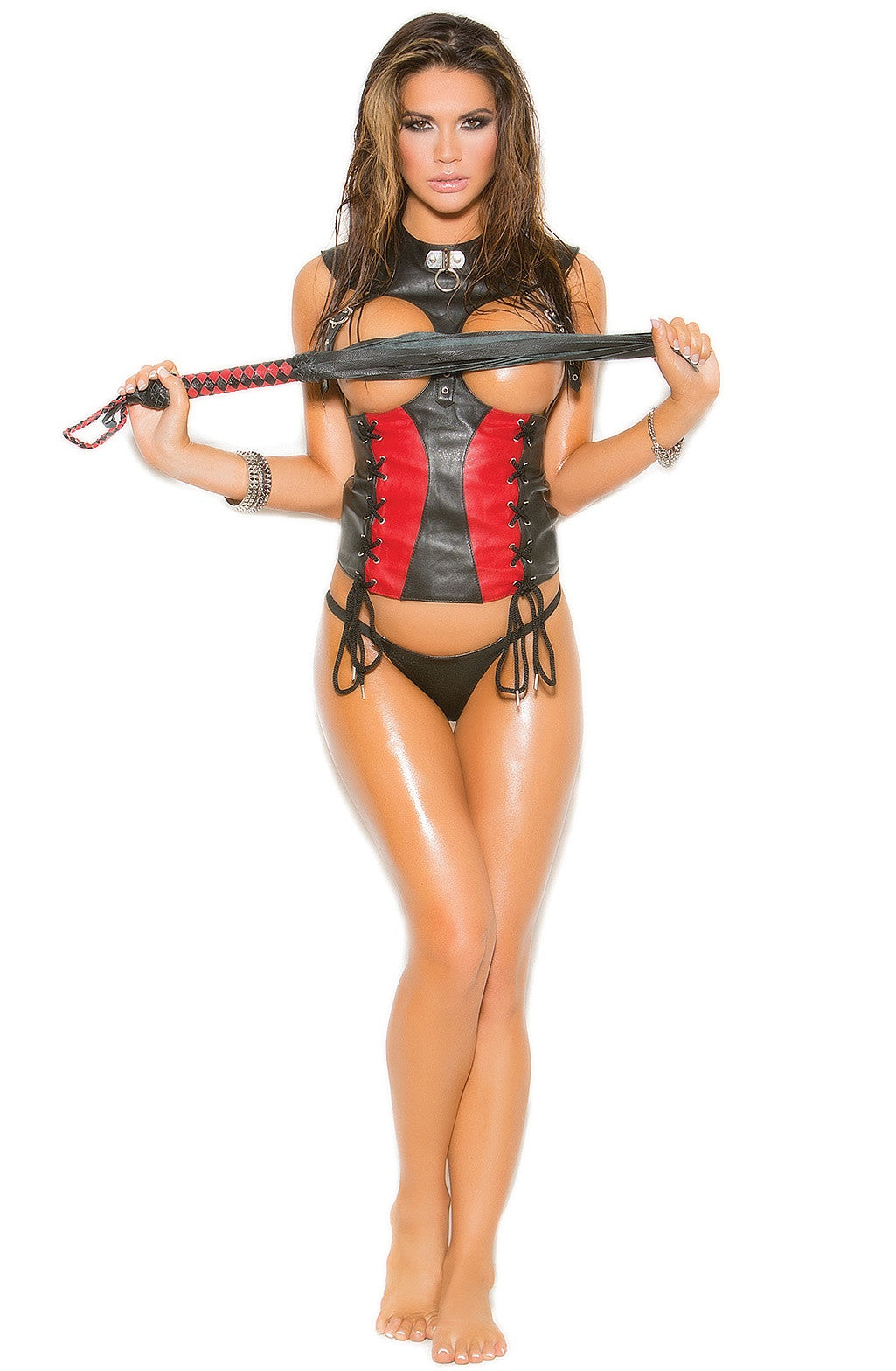 L3153 Black/Red Leather Corset - Sexylingerieland