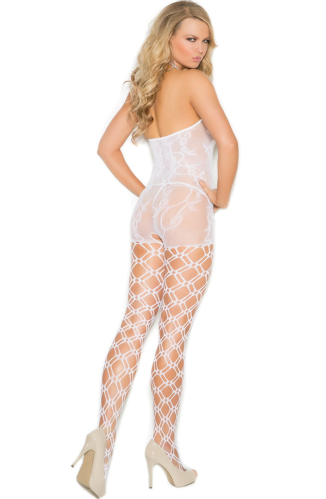 EM-1656 White Crochet Bodystocking