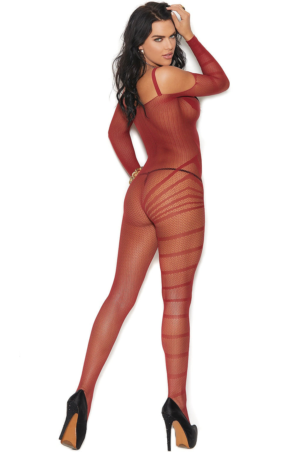 Burgundy nylon bodystocking - Sexylingerieland