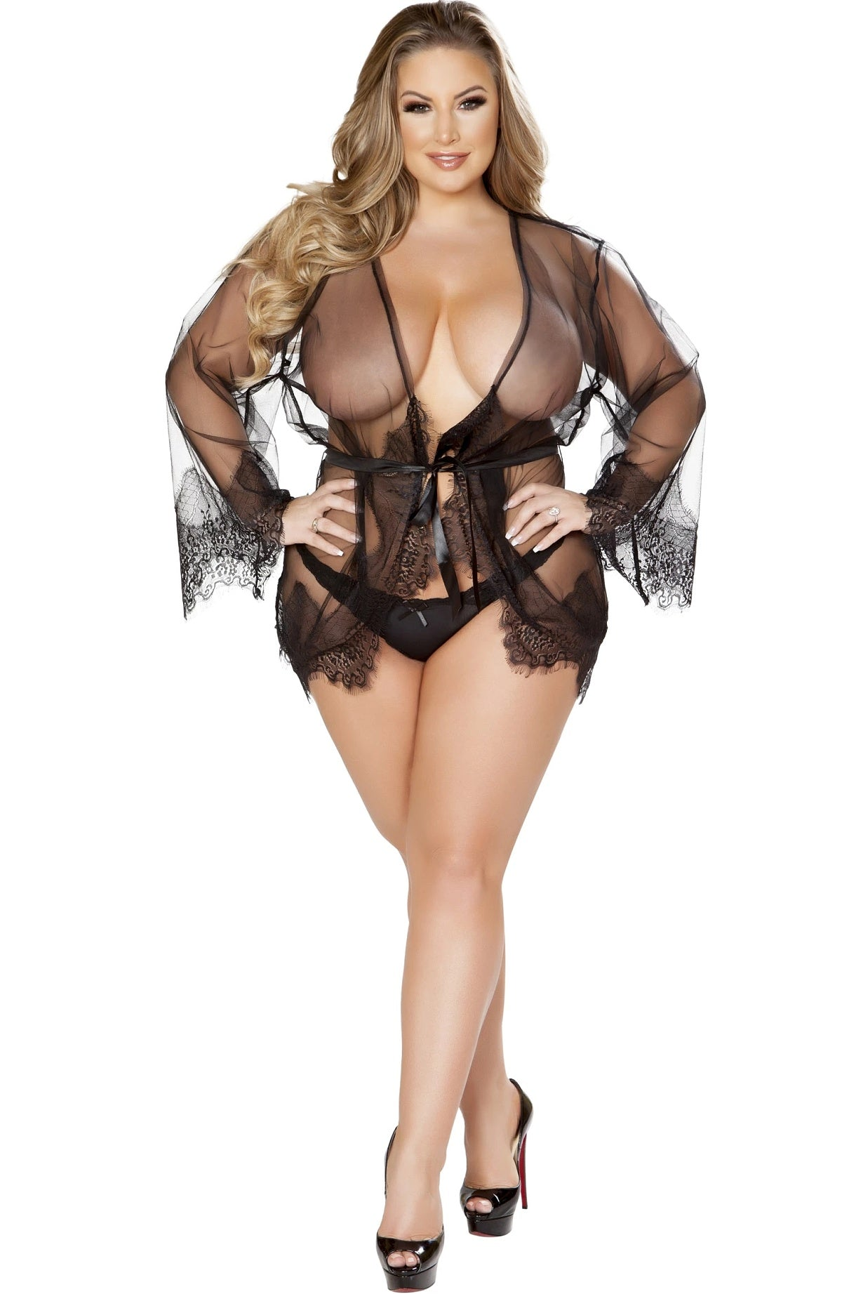 Black sheer robe - Sexylingerieland