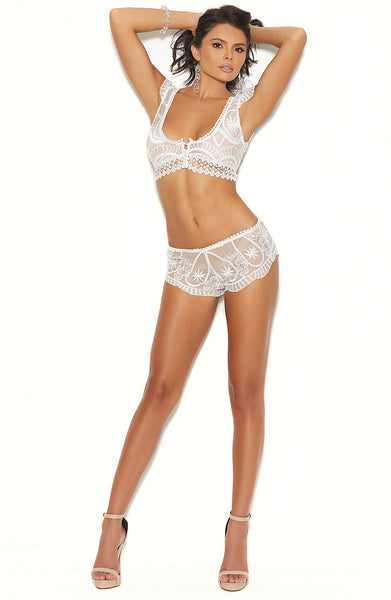 Bridal white lace cami top and patny - Sexylingerieland