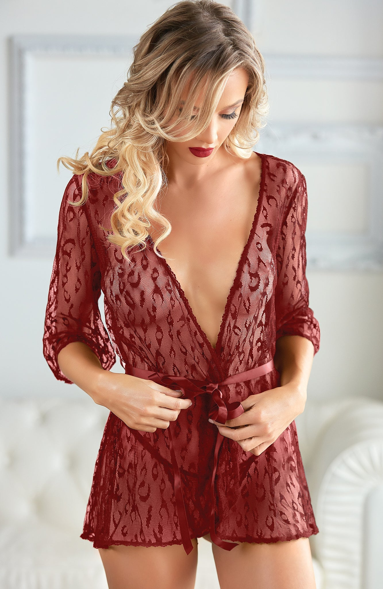 Leopard ruby lace robe - Sexylingerieland