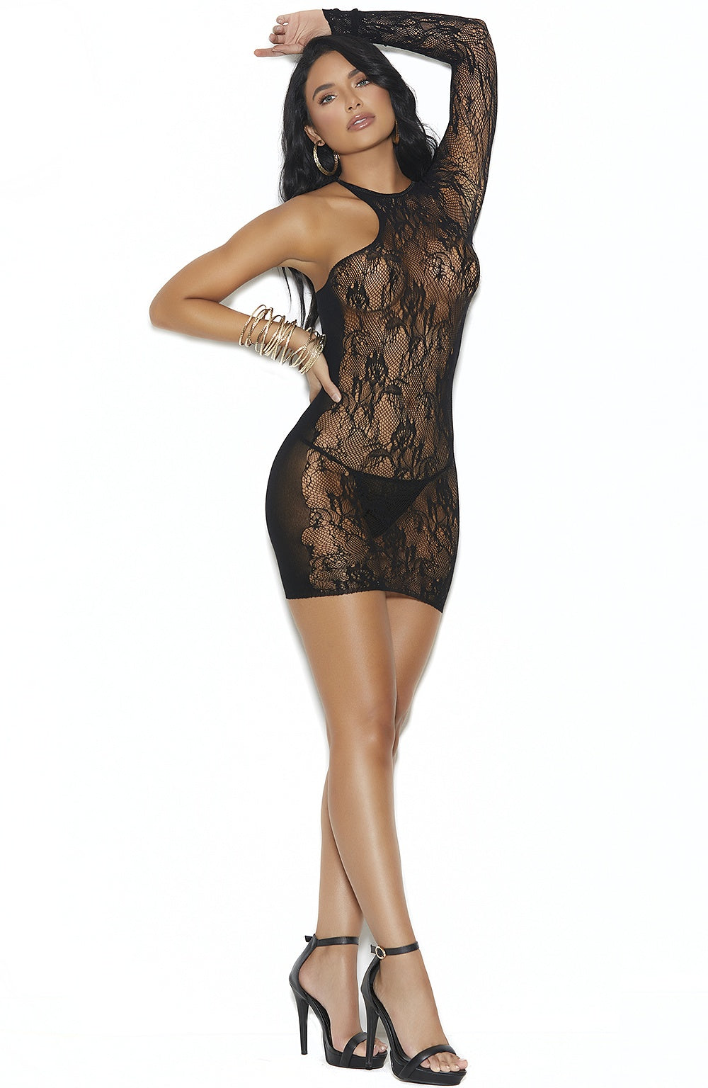 Black lace minidress - Sexylingerieland
