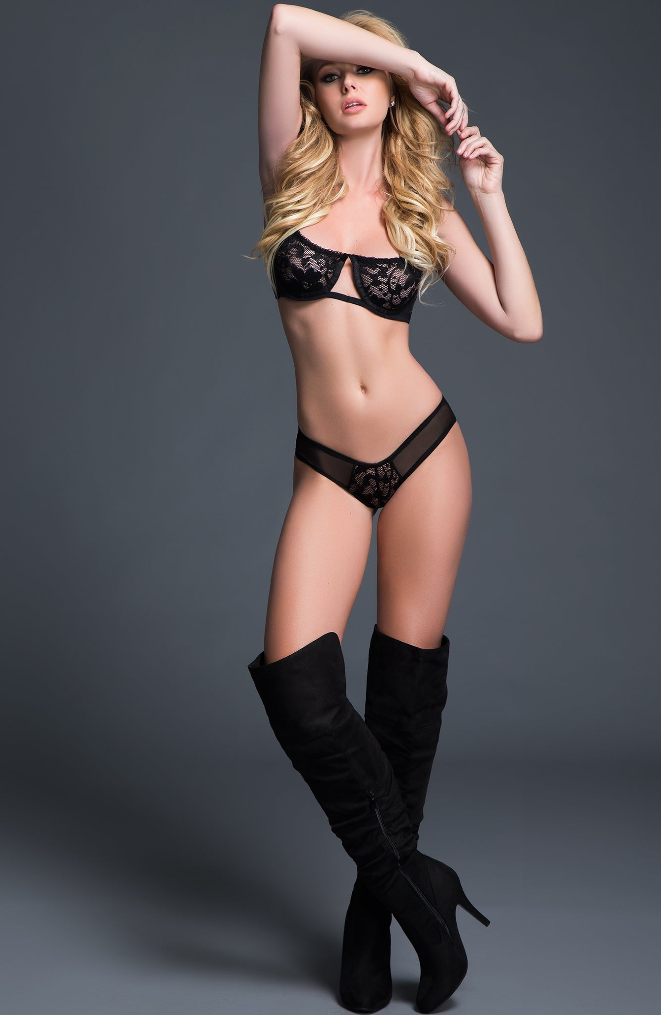 Hooded lace bra & panty - Sexylingerieland