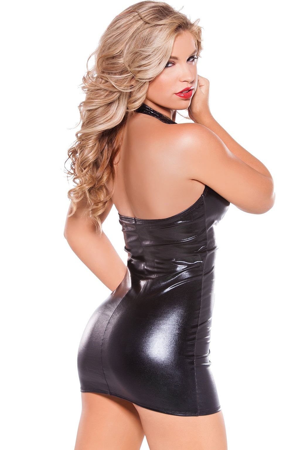 Faux leather black mini dress - Sexylingerieland