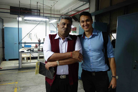 Conscious Stepper Hassan with Aayush, the factory manager