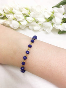 Royal Blue Rosary Bead Bracelet