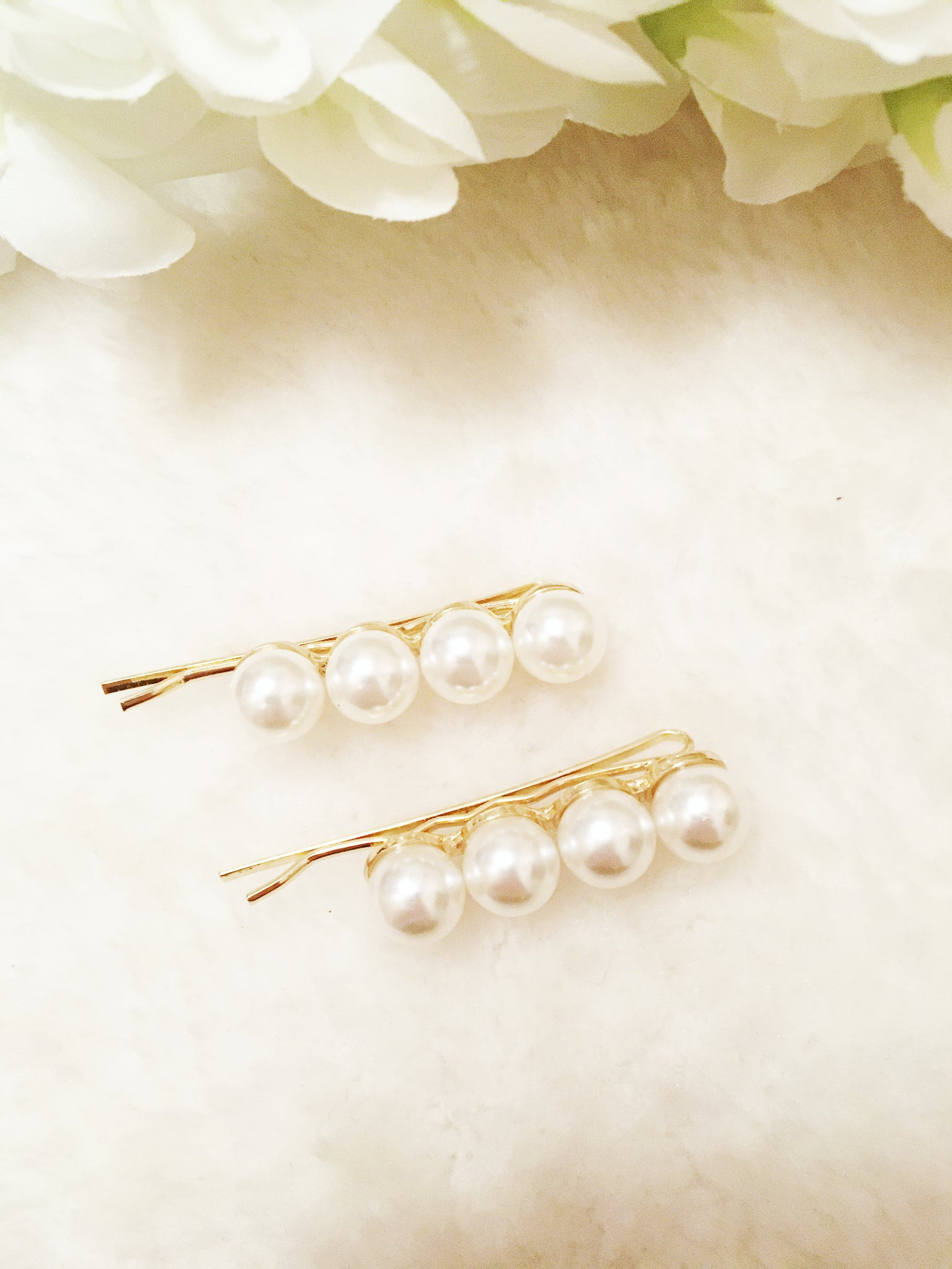 The 'Pearl Beads' Hair slides