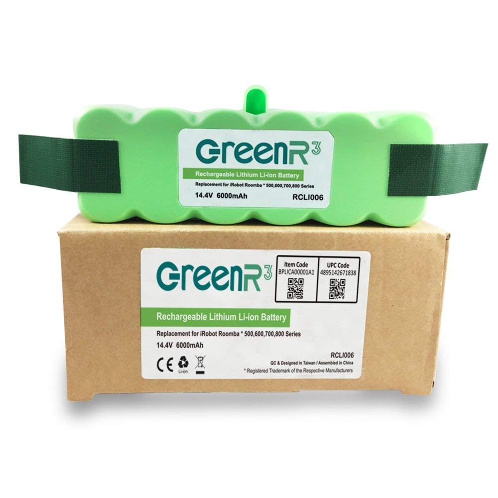 GreenR3 6000mAh  Lithium Battery Compatible for iRobot Roomba