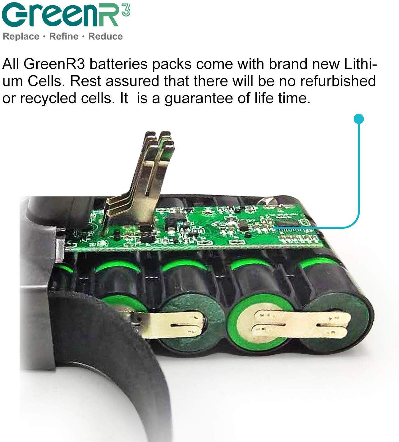 GreenR3 4.0Ah Li-ion Replacement Battery compatible for Dyson V8