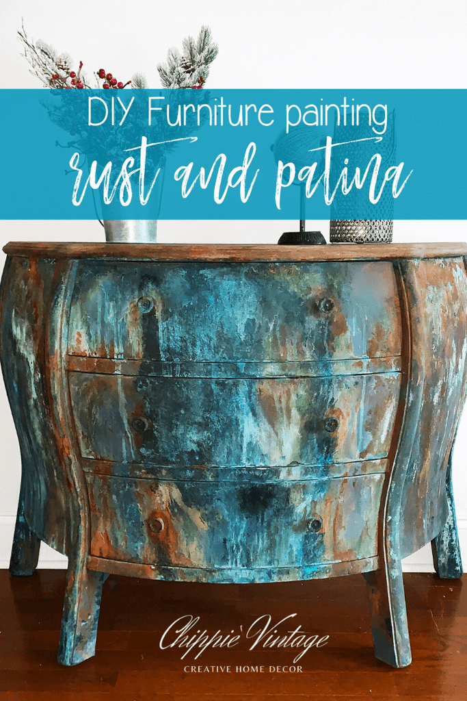 "DIY furniture painting"" rust and patina"