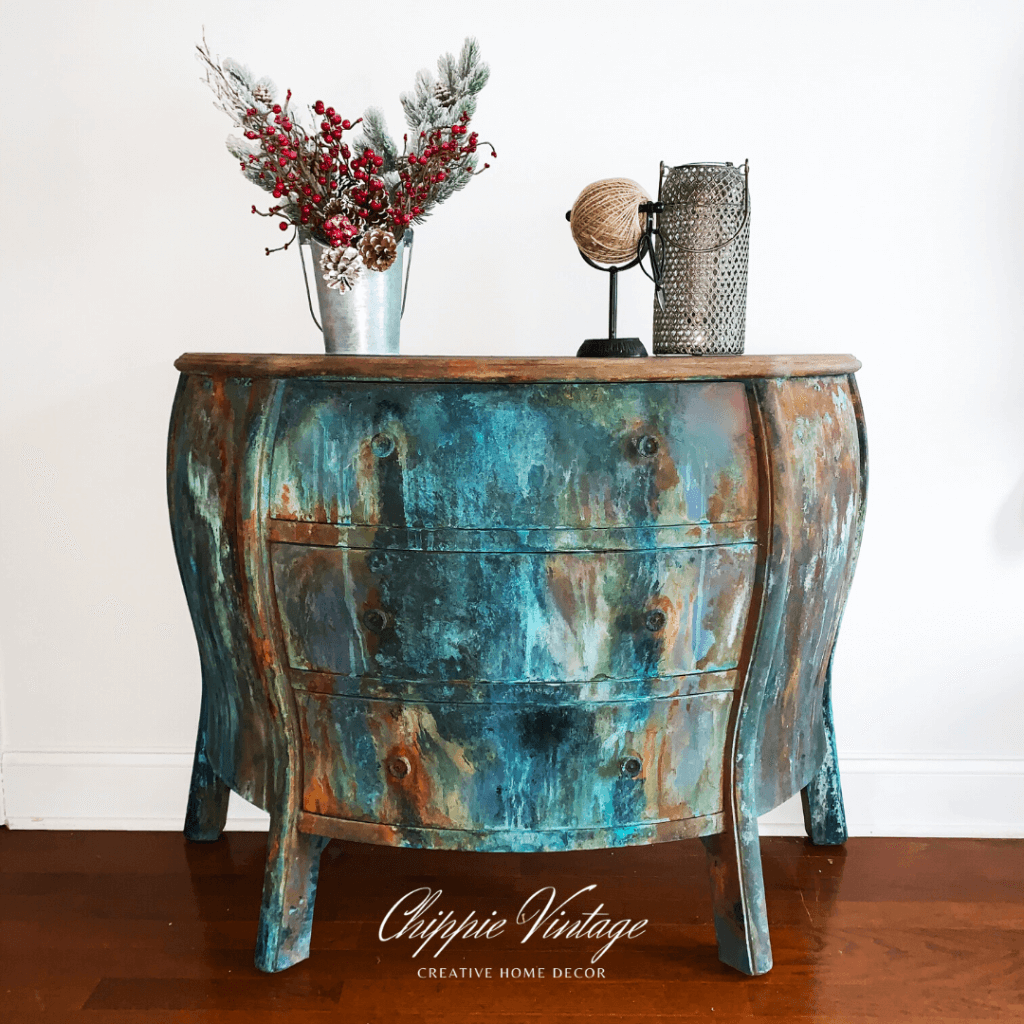 dixie belle, dixie belle paint, patina paint, rust, rusty, patina, where to buy dixie belle, free tutorial, chest, dresser, bookcase, armoire, diy decor, diy home decor, diy furniture painting, diy furniture