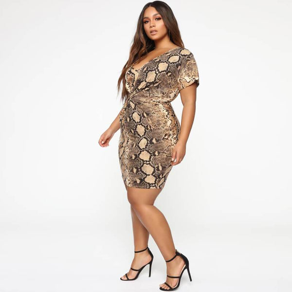 Plus Size African Traditional Dresses - snake pattern side