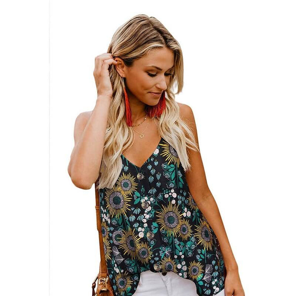 Sexy V Neck Printed Color Tops