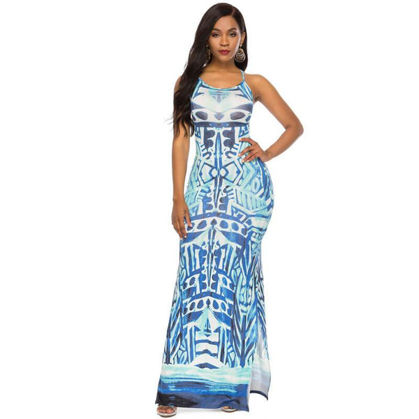 Sexy Strappy Maxi Dress -blue color