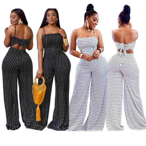 Summer White Spot Fashion Casual Jumpsuit