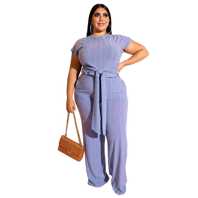 Plus Size Strappy Straight Solid Color Suit