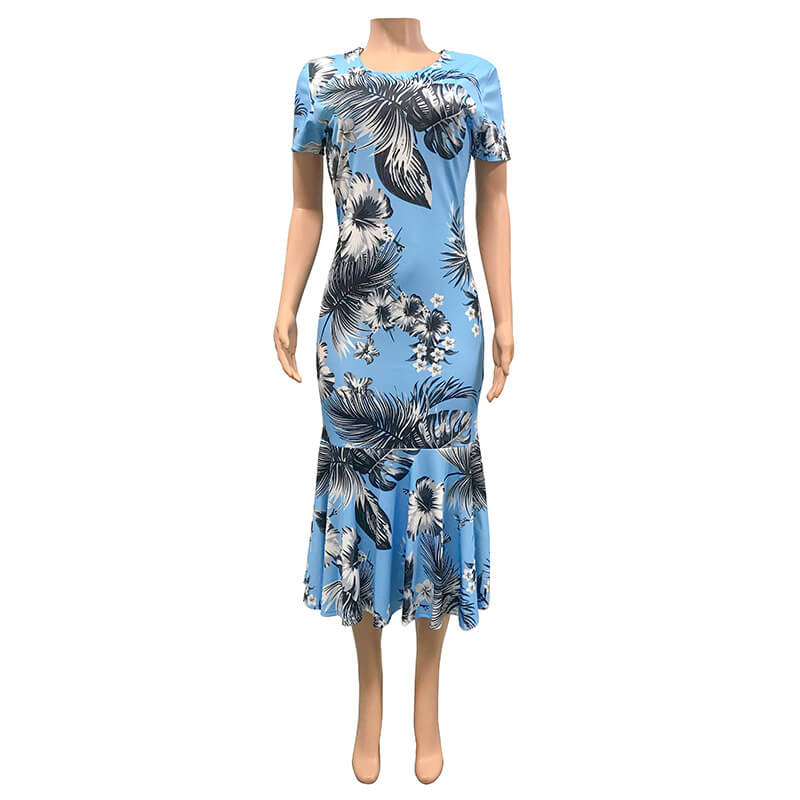 Summer Sexy Tight Printed Ruffled Dress