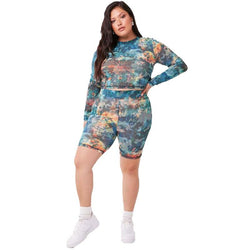Plus Size 2 Piece Sweatsuit - camouflage whole body