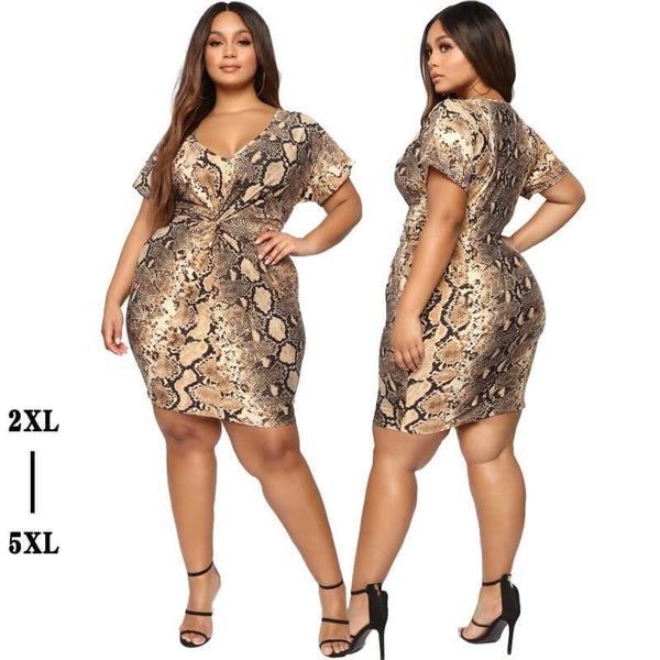Plus Size African Traditional Dresses - snake pattern main picture