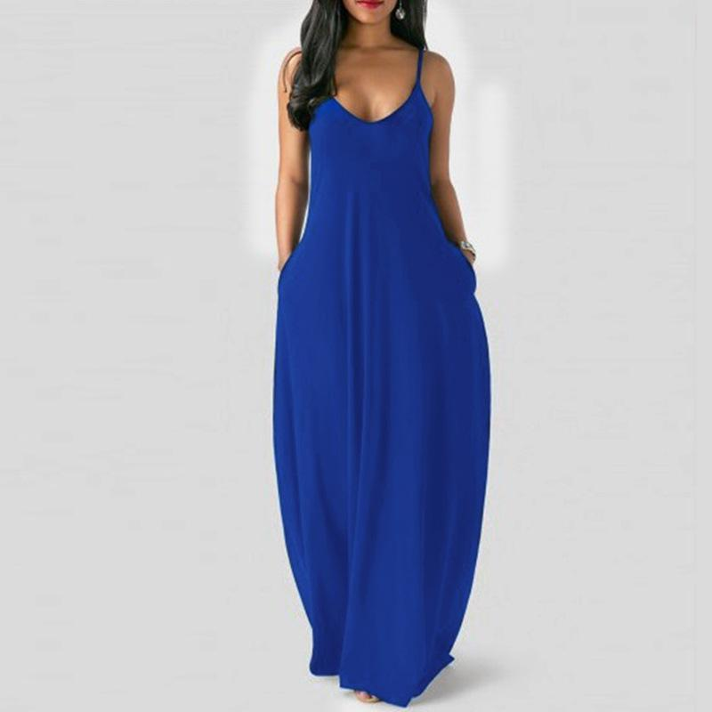 Sleeveless Plus Size Maxi Dresses - blue color