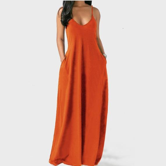 Sleeveless Plus Size Maxi Dresses - Orange color