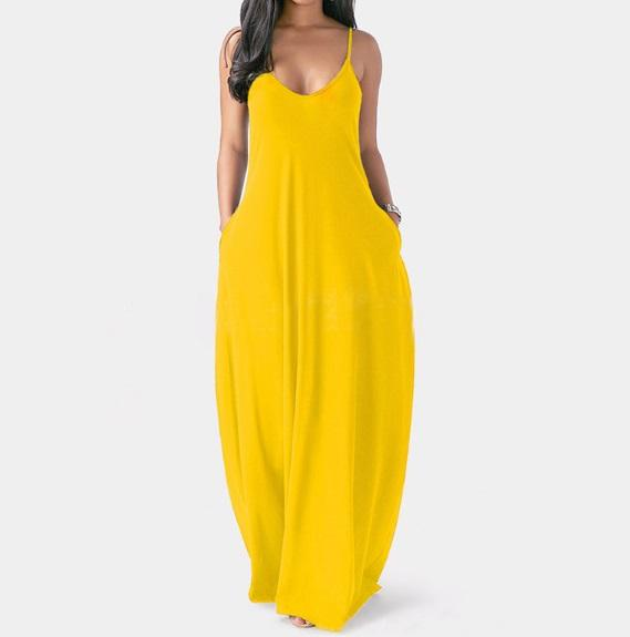 Plus Size Sleeveless Maxi Dresses - Yellow color
