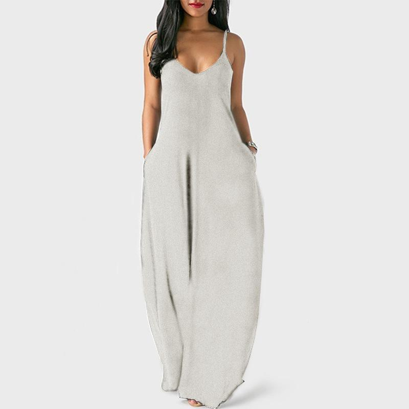 Plus Size Sleeveless Maxi Dresses - Gray color