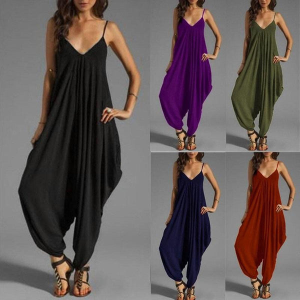 Plus Size Sleeveless Deep V Neck Jumpsuit