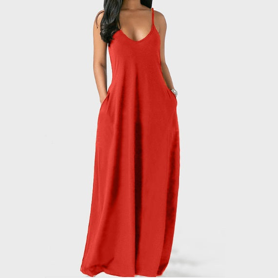 Plus Size Sleeveless Maxi Dresses - Red color