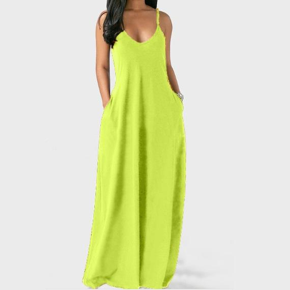 Plus Size Sleeveless Maxi Dresses - Green  color