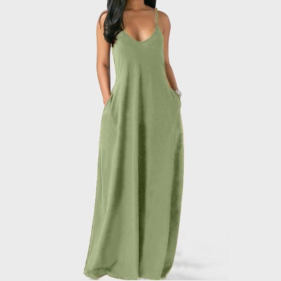Sleeveless Plus Size Maxi Dresses Green