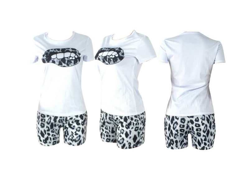 Tracksuit Lips Short Sleeve Matching Sets