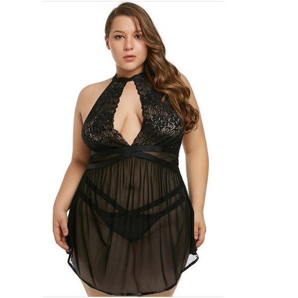 Plus Size High Collar Sexy Sleepdress