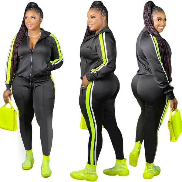 Plus Size Two-piece Casual Suit - black color