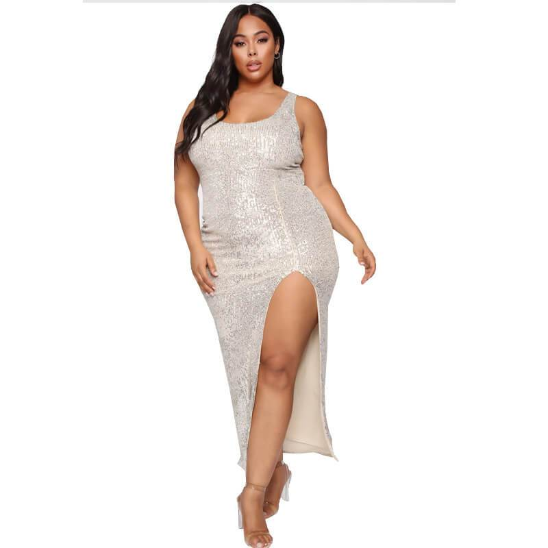 Silver Plus Size Dress - silver positive