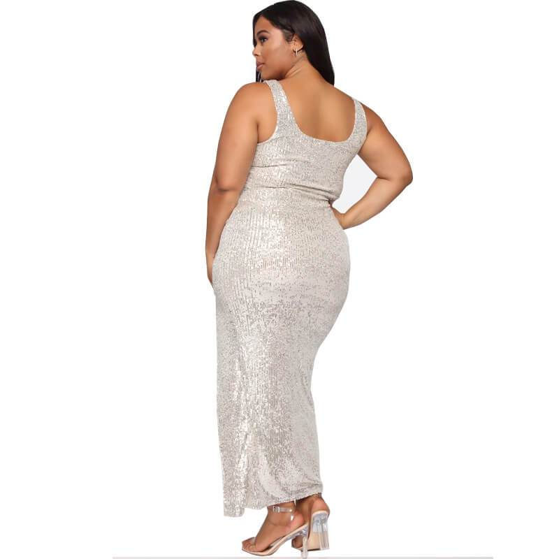 Silver Plus Size Dress - silver back