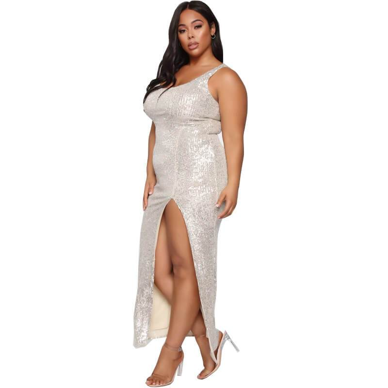 Silver Plus Size Dress - silver left