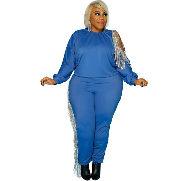 Plus Size Two Piece Tassel Sweater Set - blue color