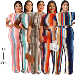 Plus Size Sets Womens Printed Stripes - main picture